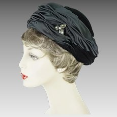 1960s Vintage Hat Black Satin and Velvet Ruched Pillbox with Clear Rhinestone Brooch