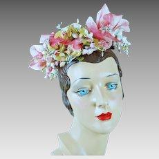 1960s Miss Dior Vintage Pink Flowered Wreath Hat Christian Dior