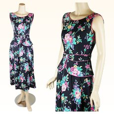 1990s Vintage Dress Bright Floral Sundress with Peplum by Lanz Sz 4 B34 W25