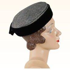 1950s Vintage Hat Wool and Velvet Houndstooth Pillbox - Horne