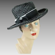 1960s Vintage Hat Black Straw Wide Brim Asymmetrical Crown Sz 21 1/2