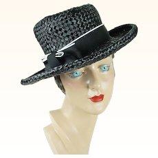 1960s Vintage Hat Black Straw Wide Brim Asymmetrical Crown Sz 21 1/2