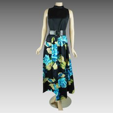 1970s Vintage Dress Polished Cotton Blue Rose Honolulu Maxi by Tori Richard Sz 12 B38 W29