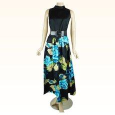 1970s Vintage Dress Polished Cotton Blue Rose Honolulu Maxi by Tori Richard Sz 12 B38 W29