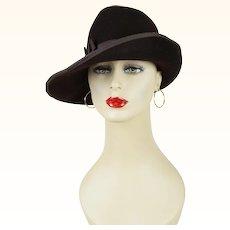 Vintage Hat Brown Felt Asymmetrical Fedora Sz 22