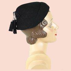 1950s Vintage Hat NWT Black Tassel Pixie Style by Gage Sz 21