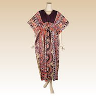 1980s Vintage Batik Caftan Brown and Tangerine Cotton Made in Thailand