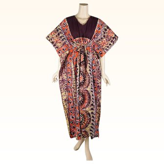 1980s Vintage Batik Caftan Brown and Tangerine Cotton Made in Thailand