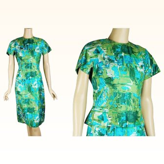 1960s Vintage Dress Blue Green Abstract Two Piece By Franklin B36 W28