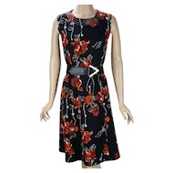 1970s Vintage Dress Black and Tangerine Floral Shift Style B40 W36