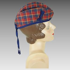 Vintage Hat Glengarry Tartan Plaid Cap