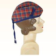 Vintage Hat Glengarry Tartan Plaid Cap