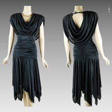 1980s Vintage Dress Black Draped Goddess Disco Party Dress by Filigree Sz 11/12 B38 W26