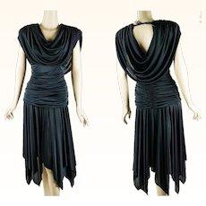 1980s Vintage Dress Black Draped Goddess Disco Party Dress by Filigree Sz 11/12 B38 W26