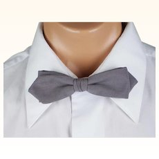 Vintage 1950s Bow Tie Bowtie Premier Quality Neckwear Diamond Point Clasp On Snap On Pearl Grey NWT Original Card and Box
