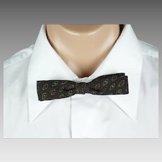 Vintage 1950s Bow Tie Bowtie Gem-Dandy Snap On Brown Print NWT Original Card and Box