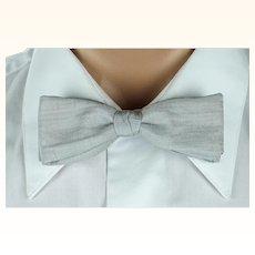 Vintage 1950s Batwing Bow Tie Bowtie Snap On Silver Silk Beau Brummell Original Box NWT
