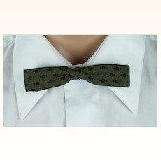 Vintage 1950s Batwing Bow Tie Bowtie Gem-Dandy Snap On Green and Maroon NWT Original Card and Box
