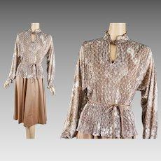 1970s Vintage Dress Taupe and Cream Crystal Pleated Peplum by Liz Roberts Sz 13/14 B36