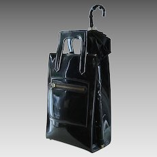 1960s Vintage Tote with Umbrella Black Patent Oversized Carry Bag