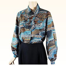 1970s Vintage Blouse Turquoise Paisley with Balloon Sleeves by Terry Sz 36 B42