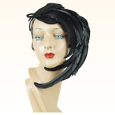 1940s Vintage Tilt Hat Feathered Black Felt Tipster with Wired Placement Bands