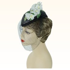 Black Straw Veiled Fascinator with White Florals