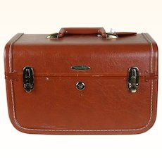 1950s Vintage Taperline Train Makeup Cosmetic Case Hand Held Carry On Luggage Suitcase with Key