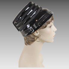 1960s Vintage Hat Black Patent Bucket Style Hat Sz 21