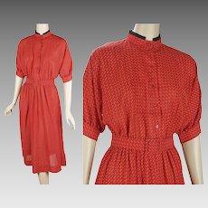 1980s Vintage Shirtwaist Dress Bright Red and Black NOS Sz 16 B42