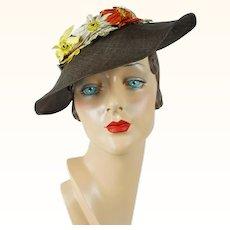 1930s Vintage Hat Brown Straw Wavy Brim with Daisies Original Tag Sz 21