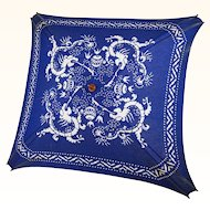 1930s Vintage Beach Umbrella Blue and White Dragon
