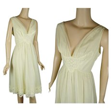 1960s Vintage Nightgown Bright Yellow Chiffon Goddess Gown by Shadowline Sz 38 B40 W32