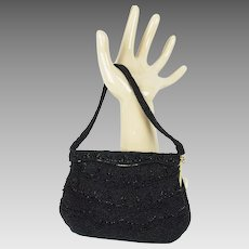 Vintage Walborg Handbag Black Beaded Evening Purse
