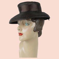 1940s Vintage Hat Brown Straw Brimmed Tilt