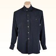 Vintage Mens Shirt Black Rayon by Mr Hongs Custom Tailor C44