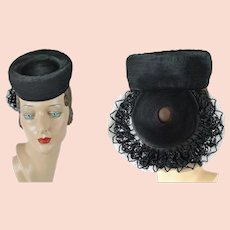 1940s Vintage Hat Black Straw Tilt with Lacy Back Placement Band by Pasadena