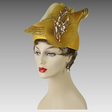 Vintage Hat Extreme Church Lady Hat Mustard Polyprolene with Sequins and Netting by Citation Sz 22 1/2
