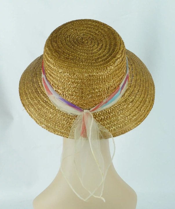 e83f2171 1950s Vintage Sunhat Natural Straw Hat with Chiffon Scarf Sz M 21 1 ...