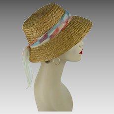 332b1bca 1950s Vintage Sunhat Natural Straw Hat with Chiffon Scarf Sz M 21 1/2