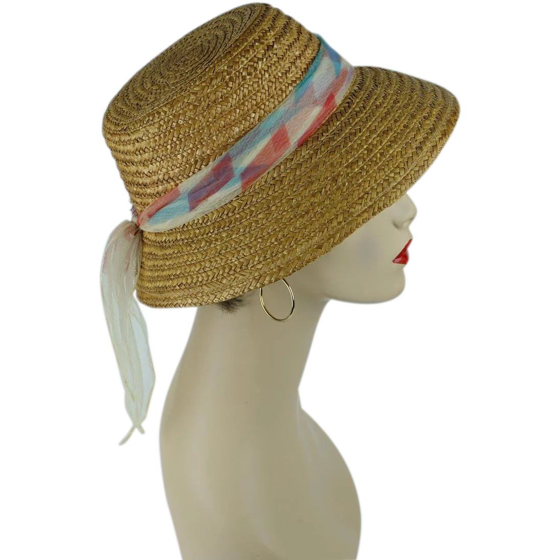 c9def2e1 1950s Vintage Sunhat Natural Straw Hat with Chiffon Scarf Sz M 21 1/2 :  Alley Cats Vintage | Ruby Lane