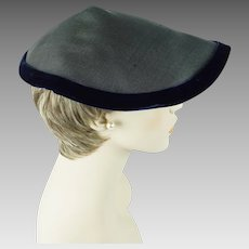 1950s Vintage Hat Grey and Blue Coolie Style Wavy Brim Hat