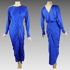 1980s Vintage Disco Party Dress Royal Blue Ruched and Draped with Rhinestone Sz 5/6 B34 W28