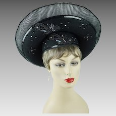 1990s Vintage Hat Black Sequinned Beaded Extreme Church Lady Wide Brim by Hi Sz 22