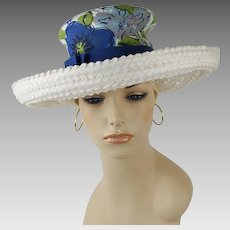 Vintage Hat White Straw Wide Brim Breton with High Blue Floral Crown by Norman Durand Sz 21