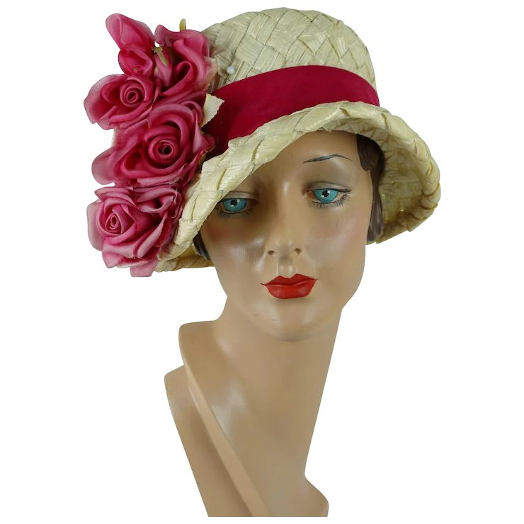 da24897f465 1960s Vintage Hat Ivory Cello Brimmed Cloche with Pink Silk Flowers by Mr  Joseph Sz 21