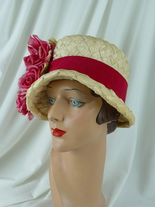 1960s Vintage Hat Ivory Cello Brimmed Cloche with Pink Silk Flowers by Mr  Joseph Sz 21 fc6e84855f5e