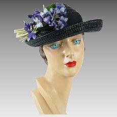 1950s Vintage Hat Black Straw Open Crown with Violets Sz 22