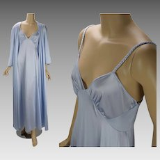 Vintage 1980s Nightgown and Robe Pale Blue Peignoir Negligee Vanity Fair Set Sz M