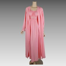 Vintage 1990s Nightgown and Robe Pinky Peach Peignoir Negligee Shadowline Set Sz Petite S B34